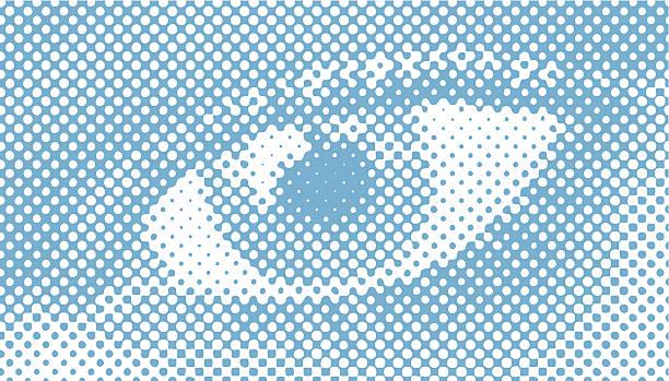 Halftone Retro Vector, Close-up of a woman's eye vector art illustration