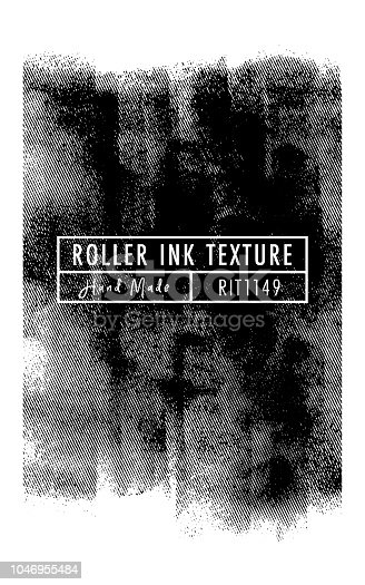 Halftone Roller Ink Vector Texture (Hand Made) on the White Background