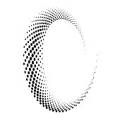 Halftone round as icon or background. Black abstract vector circle frame with dots as logo or emblem. Circle border isolated on the white background for your design.