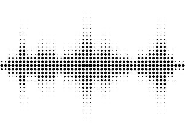 illustrazioni stock, clip art, cartoni animati e icone di tendenza di halftone sound wave black and white pattern. - balance graphics