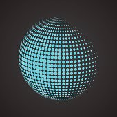 Halftone sphere. Isolated abstract earth logo on black background. Dotted globe vector illustration.