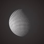 Halftone sphere. Isolated abstract earth logo