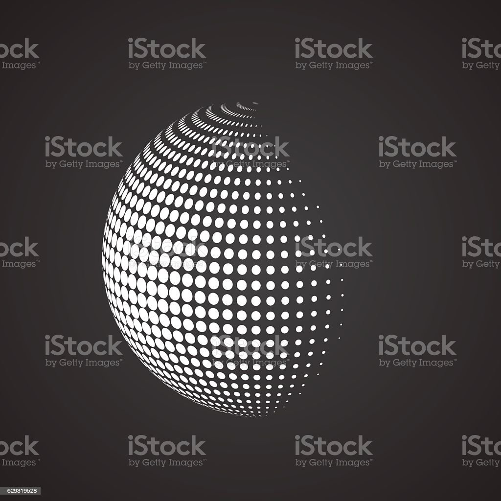 Halftone sphere. Isolated abstract earth logo vector art illustration
