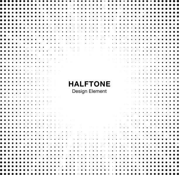 Halftone star circle frame background. Black circular border using halftone dots texture. Boom backdrop. Explosion design element. Vector illustration. vector art illustration