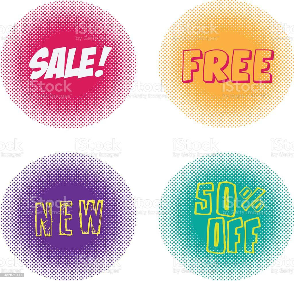 Halftone Tags royalty-free stock vector art