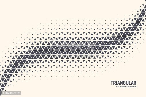 Triangular Shapes Vector Abstract Geometric Technology Oscillation Wave Isolated on Light Background. Halftone Triangles Retro Simple Pattern. Minimal 80s Style Dynamic Tech Wallpaper