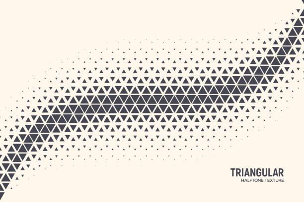 ilustrações de stock, clip art, desenhos animados e ícones de halftone triangle particles conceptual vector abstract technology background - alter do chão