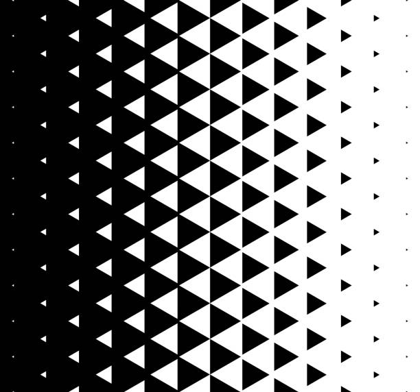 halftone triangular pattern vector. abstract monochrome geometric triangle pattern design background - black and white mountain stock illustrations, clip art, cartoons, & icons