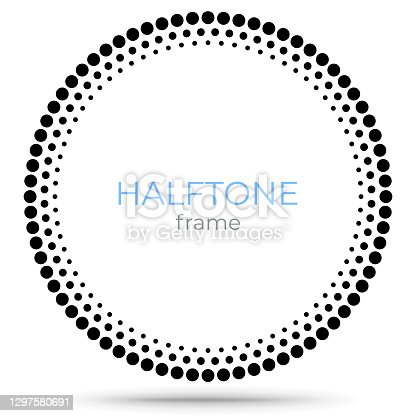 istock Halftone vector circle frame dots logo emblem, design element for digital devices, medical, treatment, cosmetic. Round border Icon using halftone circle dots raster texture. 1297580691