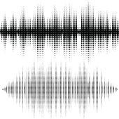 Halftone vector elements. Vector sound waves. Music waveform background