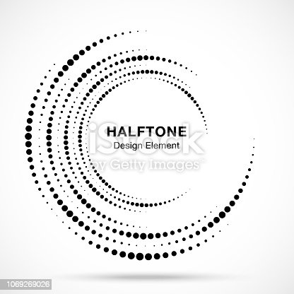 Halftone vortex circle frame dots logo isolated on white background. Circular swirl design element for treatment, technology. Incomplete round border Icon using halftone circle dots texture. Vector