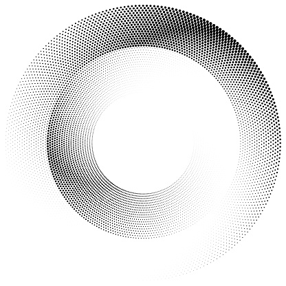 Wheel of circle dots, angular size gradient.