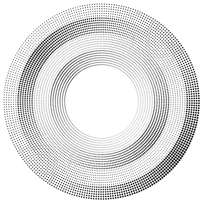 High contrast wheel of dotted lines, angular size gradient. Arithmetic orbits (equal width) each with a phase shift.