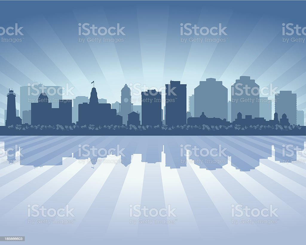Halifax Nova Scotia Blue City skyline silhouette royalty-free stock vector art