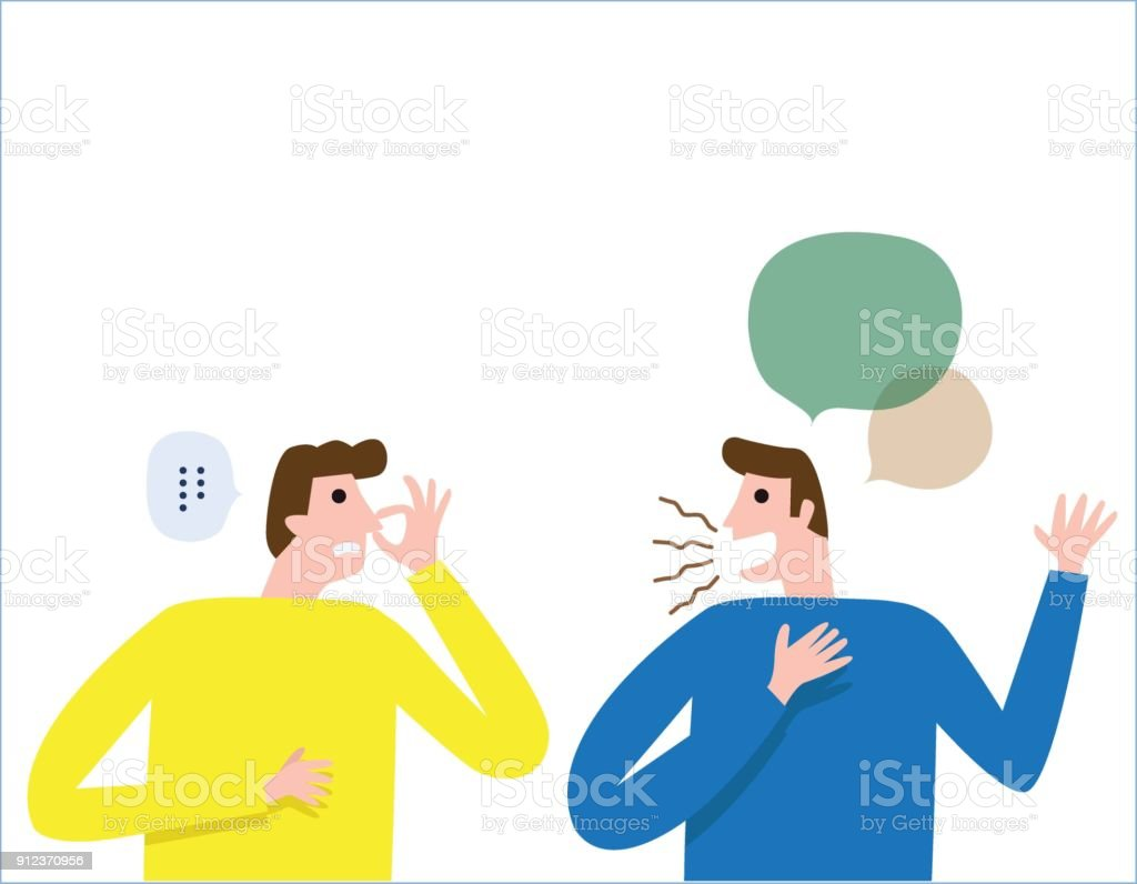 halitosis, Bad breath. People talk. man covers nose with hand showing that something stinks. health care concept. vector people flat design illustration isolated background. vector art illustration