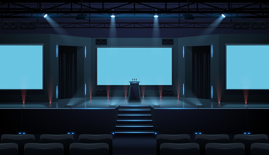 Hall of business conference with screen template