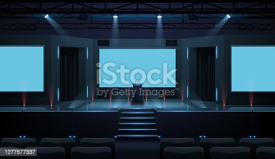 Hall of business conference with screen template in vector