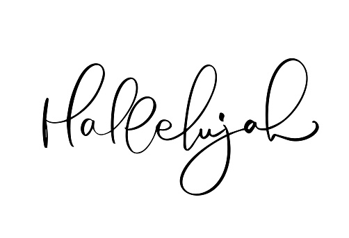 Hallelujah vector calligraphy text. Christian phrase isolated on white background. Hand drawn vintage lettering illustration