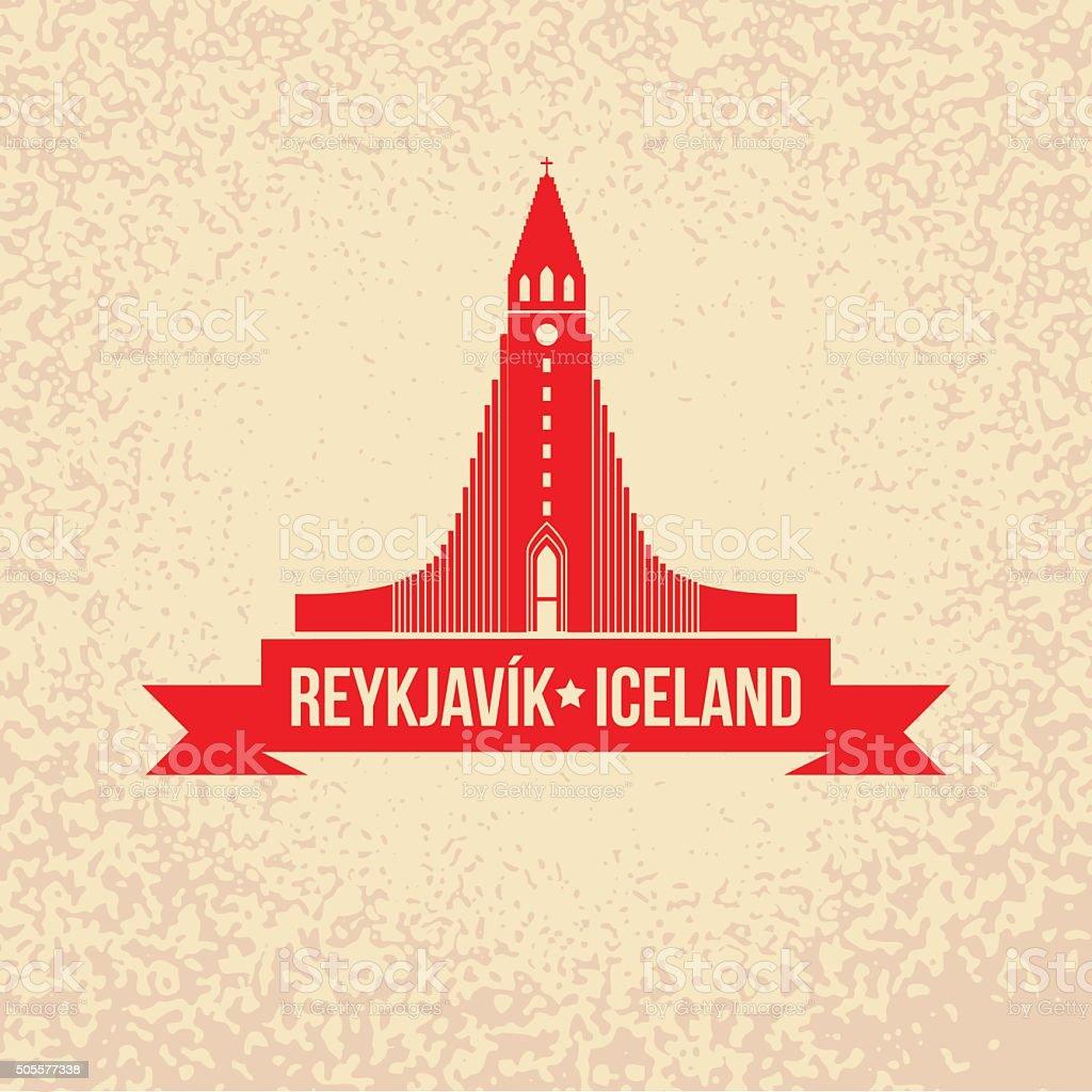 Hallgrimskirkja. The symbol of  Reykjavik, Iceland. vector art illustration