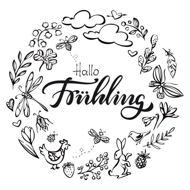 Hallo Fruehling (Hello spring in germanlanguage) wreath illustration vector art illustration