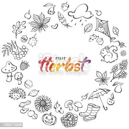 istock Hallo Herbst - hand drawn line art autumn elements wreath 1265274508