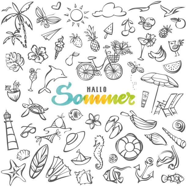 Hallo Sommer – Hello summer in german language vector art illustration