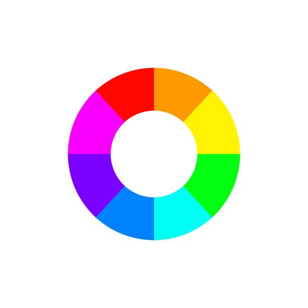 illustrazioni stock, clip art, cartoni animati e icone di tendenza di hallow color wheel or color picker circle flat vector icon for drawing u002f painting apps and websites - raccogliere frutta