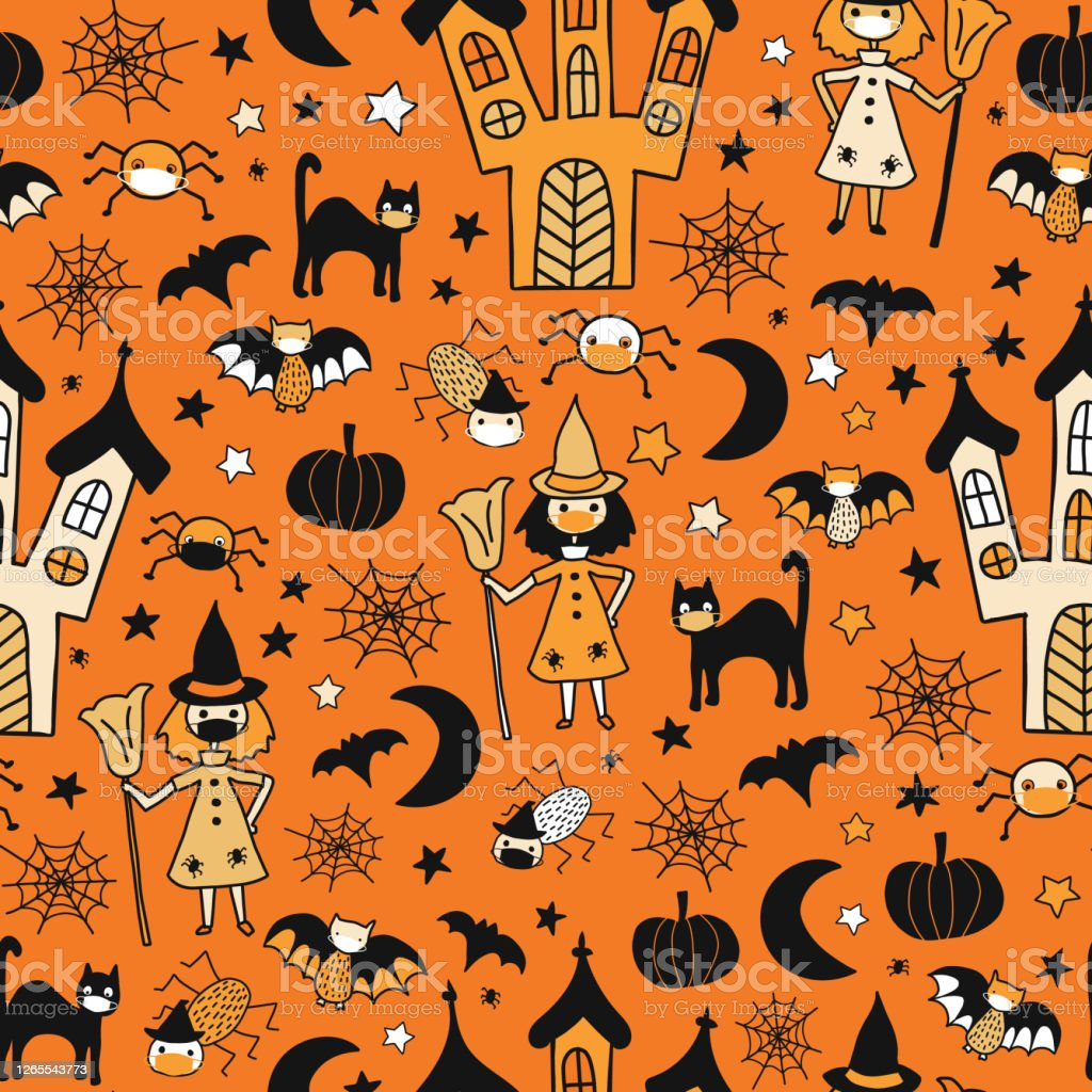 Halloween 2020 Cards For Kids Halloween 2020 Coronavirus Kids Vector Pattern Witch Cat Spiders