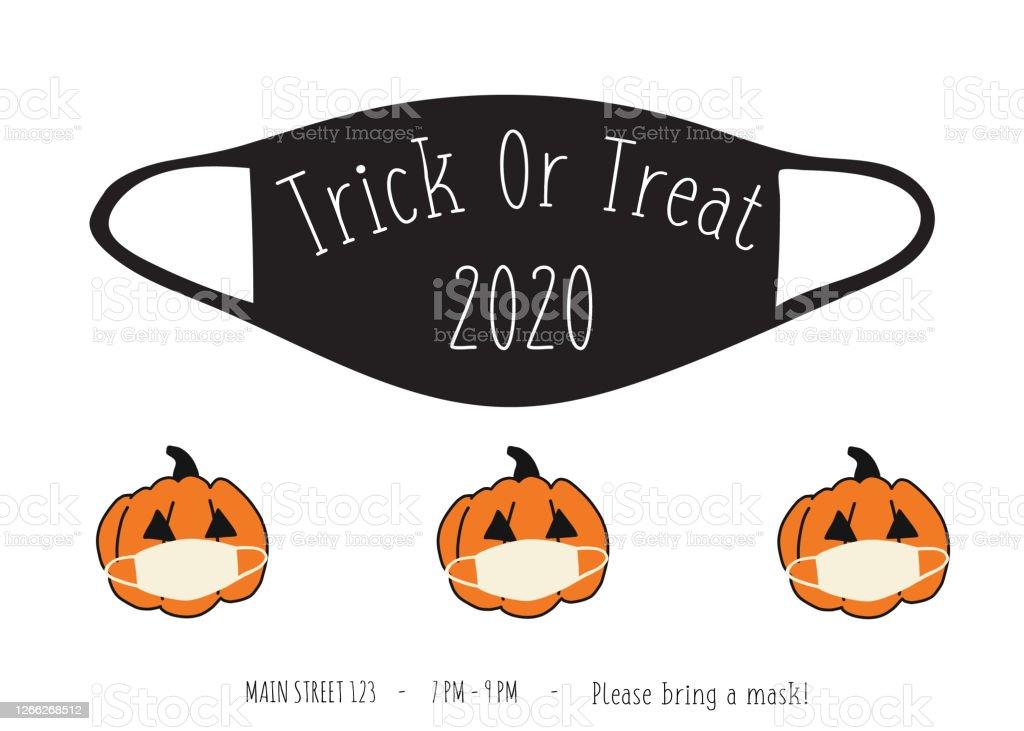 Halloween 2020 Mask White Halloween 2020 Coronavirus Trick Or Treat Party Invitation