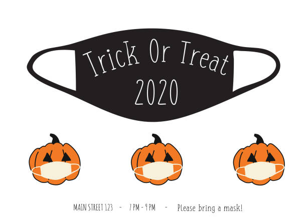 Halloween 2020 Coronavirus Trick Or Treat party invitation. Postcard design face mask and pumpkins. Fully editable vector illustration black and white. Use for cards, flyer, posters, invite Halloween 2020 Coronavirus Trick Or Treat party invitation. Postcard design face mask and pumpkins. Fully editable vector illustration black and white. Use for cards, flyer, posters, invites halloween covid stock illustrations