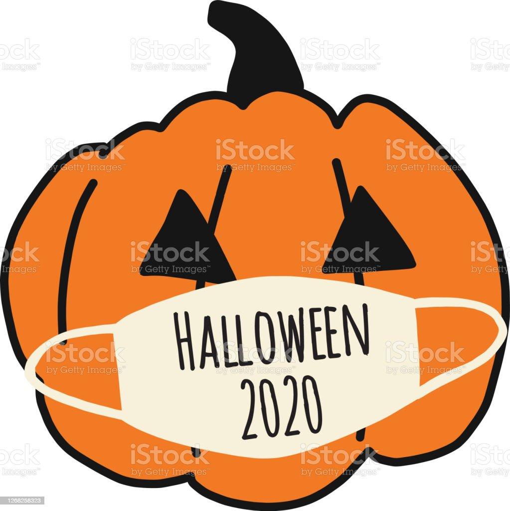Halloween 2020 Poster Drawn Halloween 2020 Pumpkin Wearing A Face Mask Halloween Coronavirus