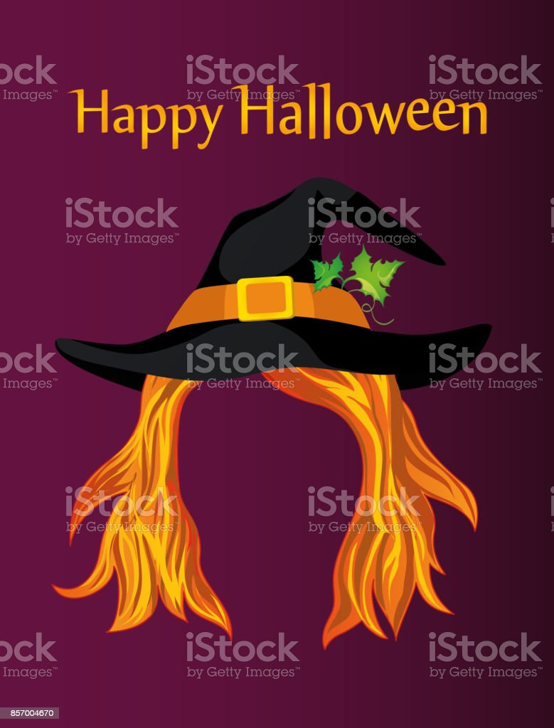 Halloween. A girl in a witch hat with hair without a face. Vector. Greeting card or invitation to a party or party vector art illustration