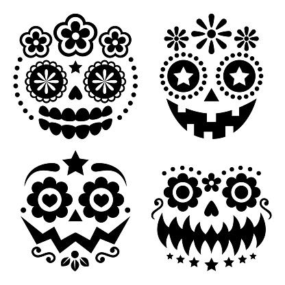 Halloween and Dia de los Muertos skulls and pumpkin faces vector design - Mexican sugar skull style decoration