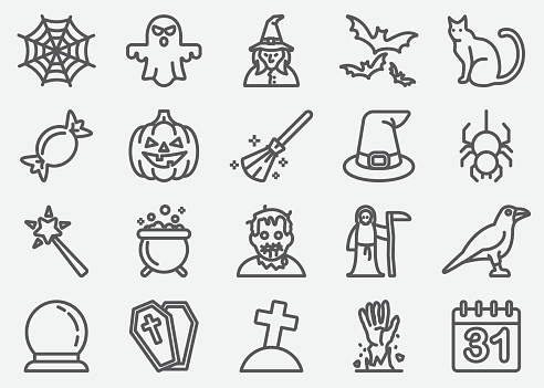 Halloween And Ghost Line Icons