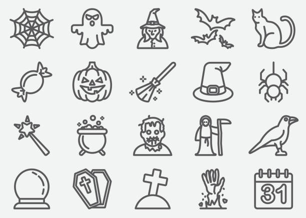 halloween and ghost line icons - birds calendar stock illustrations, clip art, cartoons, & icons