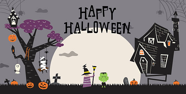 halloween und haunted house d - geistergeschichten stock-grafiken, -clipart, -cartoons und -symbole