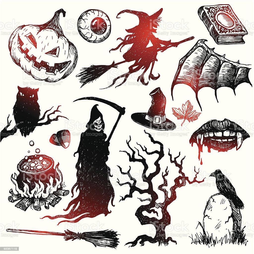 Halloween and horror hand drawn set royalty-free stock vector art