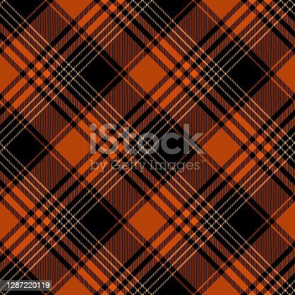 Halloween argyle tartan plaid seamless pattern background.