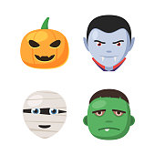 Halloween avatar faces set