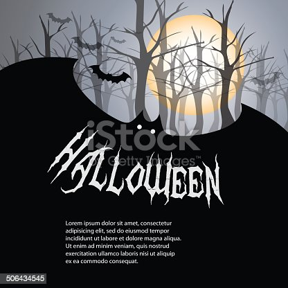 Dark Halloween Card with a Tree and Bats - Illustration in Editable Vector Format