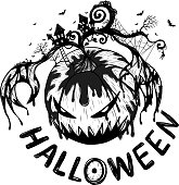 Halloween background by hand drawing