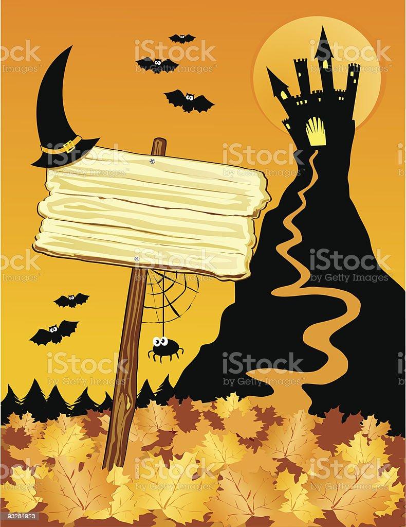 Halloween background con cartello royalty-free stock vector art