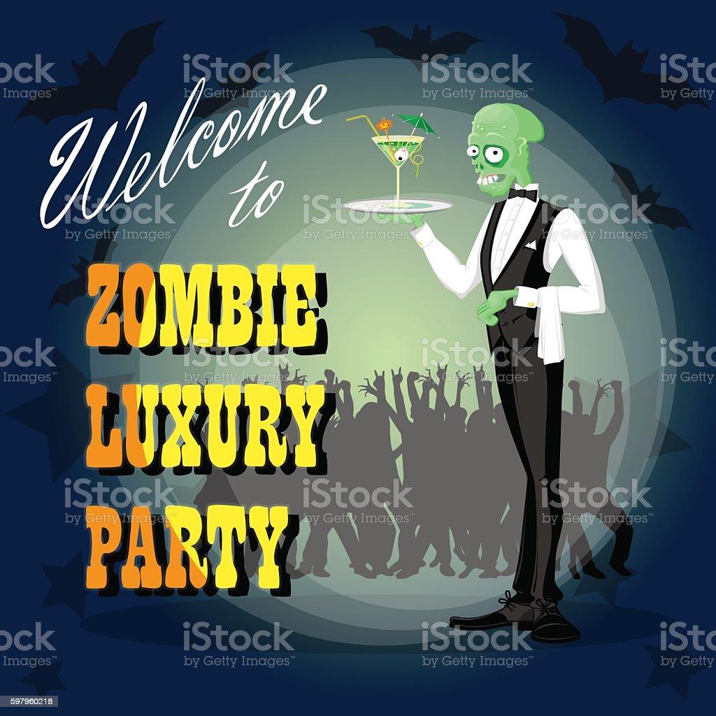 halloween background cute elegant zombie drawing in funny cartoon