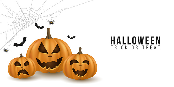 Halloween background design with 3d emotional cartoon pumpkins on white backdrop. Cover for holiday. Trick or treat. Cobweb with spider and bats. Vector illustration