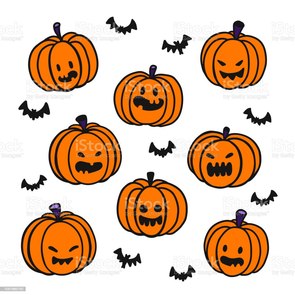 Halloween background. Hand drawing styles for Halloween.