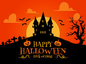 Happy Halloween background in flat design. Haunted house, headstones and bats silhouettes
