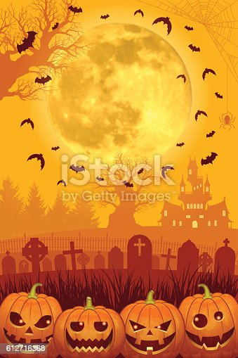 istock Halloween background [Jack o' Lantern and Full moon] 612716368