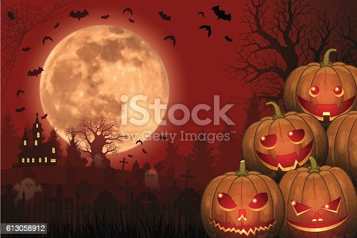 istock Halloween background [Jack o' Lantern and Full moon] 613058912
