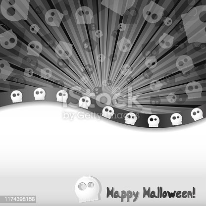 Halloween background with skulls and place for text, vector illustration, part 1