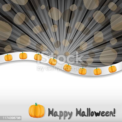 Halloween background with pumpkins and place for text, vector illustration, part 2